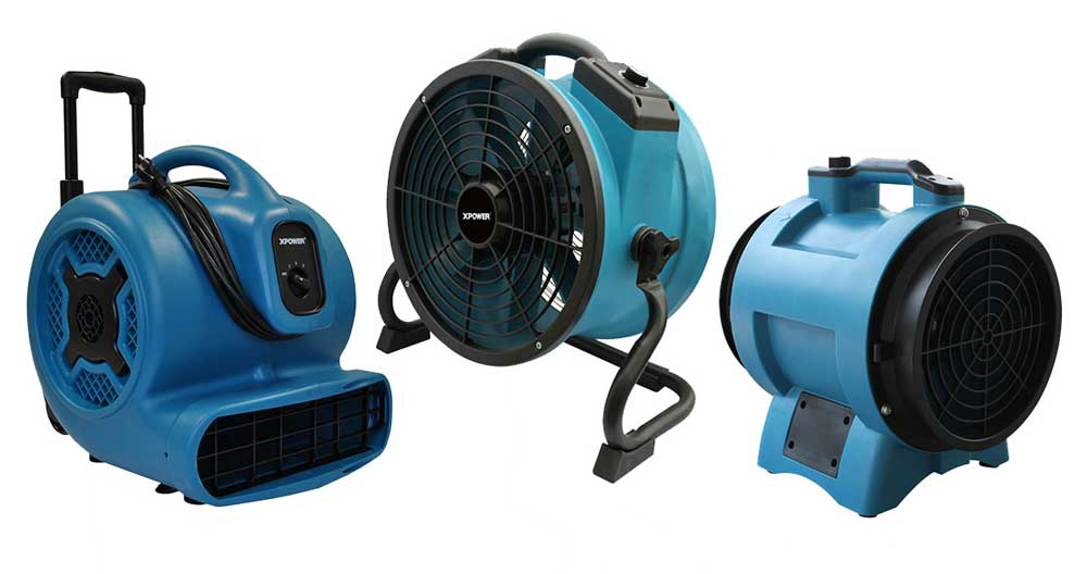 Air Movers, Axial Fans and Confined Space Fans
