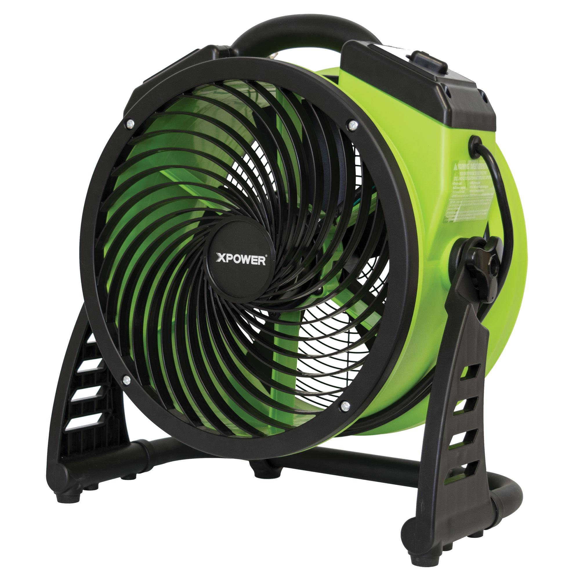 13 Diameter Multipurpose Shop Fan- Green Carpet Dryer Floor Fan XPOWER FC-200 Heavy Duty Whole Room Air Circulator Fan Blower